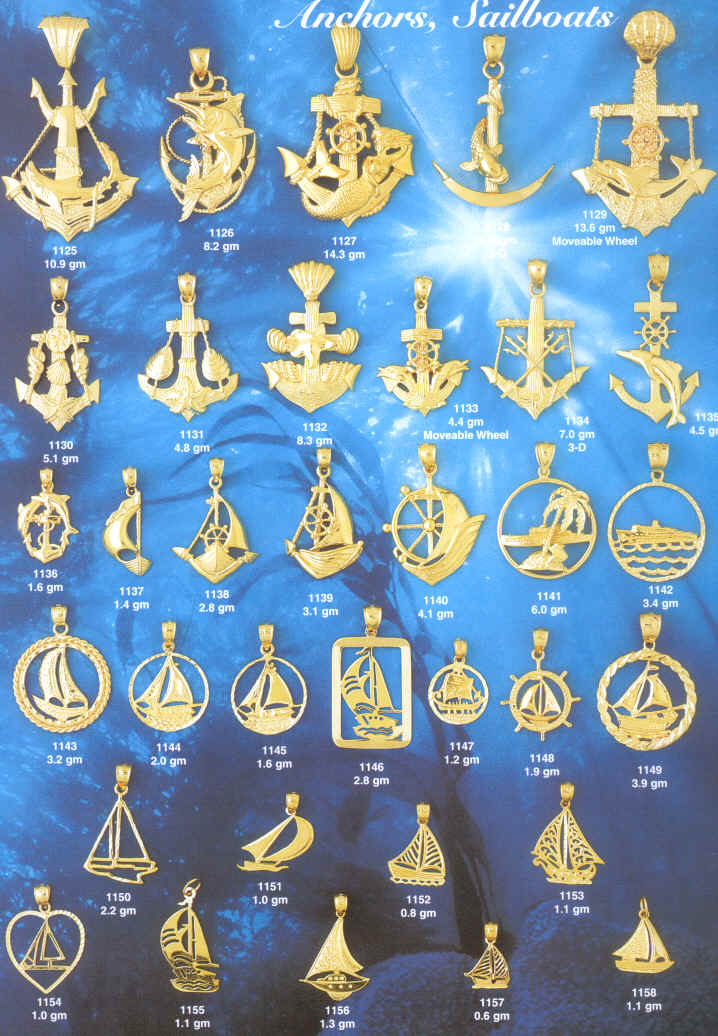 anchors,saltwater,fishing boat,Gold,Jewelry,Store,Sail  boating,Speed Boating,Anchors,saltwater,fishing boat,Marlins,Mermaid,Shells,religious symbols