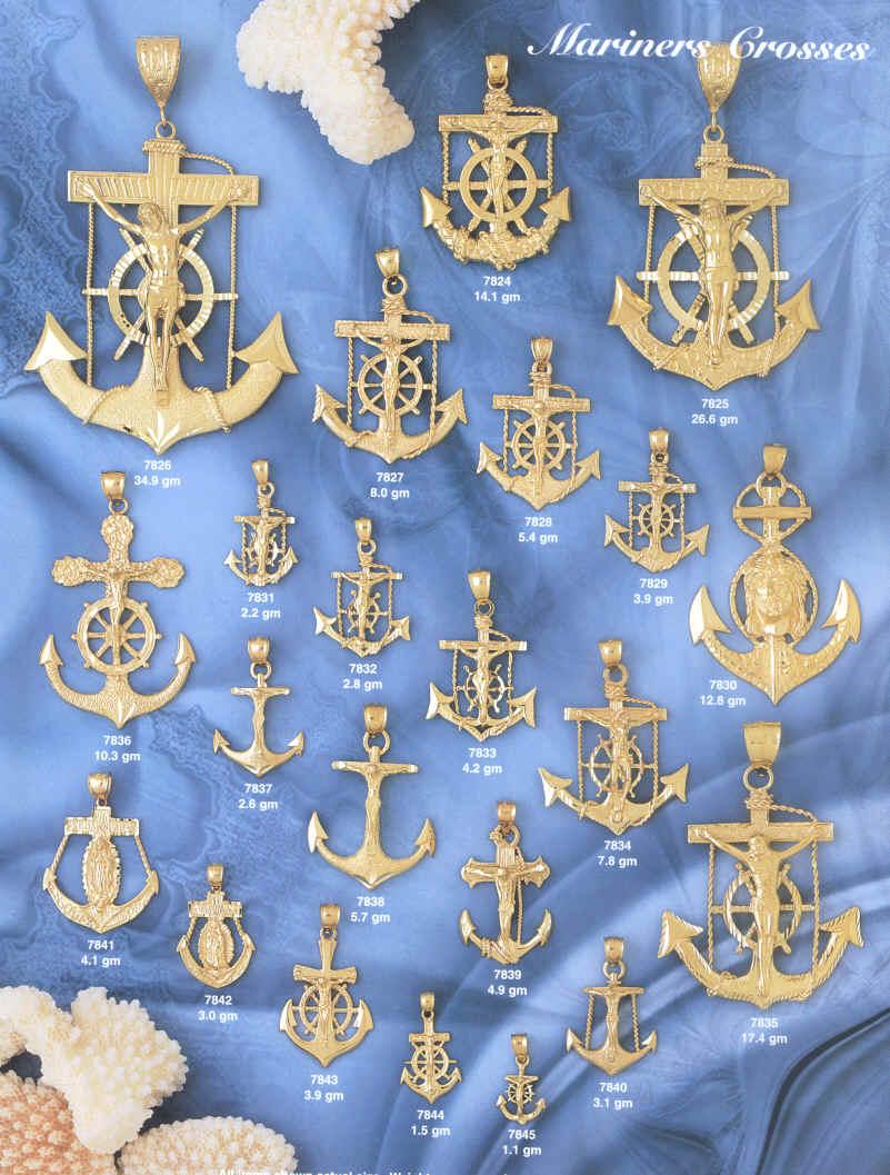 Thousands Of 14 Kt Gold Anchor Cross Pendants 14 Kt Gold Anchor